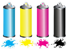 CMYK Spray can. Isolated on white Royalty Free Stock Image
