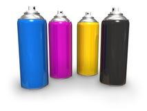 CMYK spray cans Stock Photos