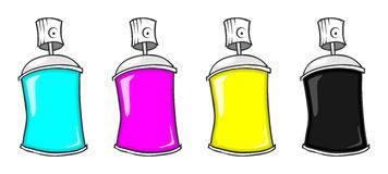 CMYK spray cans Royalty Free Stock Photos