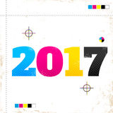 2017 in CMYK style. Vector vintage poster with 2017 in CMYK style stock illustration