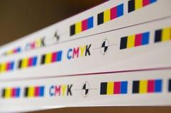 Cmyk test printout mark stock photos