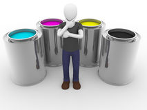 Cmyk tints man Royalty Free Stock Images