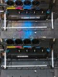CMYK toner cartridges in laser copier machine royalty free stock image