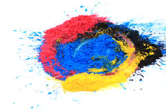 cmyk toner powder (cyan, magenta, yellow, black) royalty free stock photos