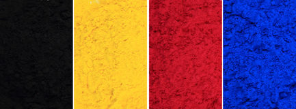 Cmyk toner powder (cyan, magenta, yellow, black) royalty free stock image
