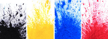 Cmyk toner powder (cyan, magenta, yellow, black). On white background stock image