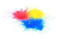 Cmyk toner powder (cyan, magenta, yellow, black) stock images