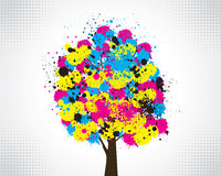 CMYK tree concept. Vector illustration of tree with cmyk paint splashes Stock Illustration