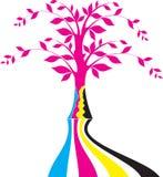 Cmyk tree logo vector illustration