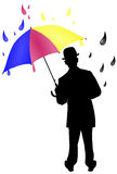 CMYK Umbrella Illustration. A CMYK illustration of a man holding an umbrella Royalty Free Stock Image