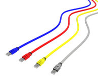 CMYK usb cables. 3d rendering of 4 usb cables with, cyan, magenta, yellow, and clear black (gray Stock Image