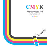CMYK vector background. Print colors paint roller. Royalty Free Stock Photos