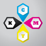 Cmyk wallpaper with 3d hexagon buttons. On gray background Royalty Free Stock Images
