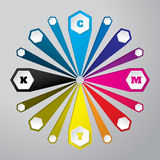 Cmyk wallpaper with 3d hexagons and color combinations. Cmyk wallpaper with 3d hexagon buttons and color combinations Royalty Free Stock Image