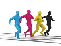 CMYK way to future business. CMYK colored men group running at sport distance. 3d rendered illustration Stock Photography