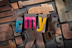 Cmyk written with antique letterpress type Stock Image
