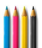 cmykfärgblyertspennor Arkivbild
