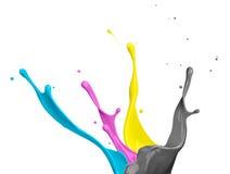 cmykmålarfärgfärgstänk Arkivbild