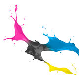 cmykmålarfärgfärgstänk Arkivbilder