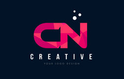 CN C N Letter Logo with Purple Low Poly Pink Triangles Concept Royalty Free Stock Image