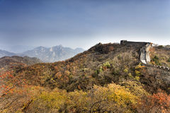 CN Great Wall Autumn Trees Royalty Free Stock Photo