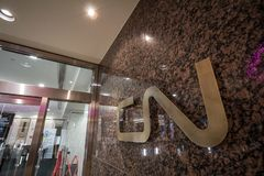 CN logo on their main office for Quebec. Also known as Canadian National Railway, it is the main freight and cargo rail operator i royalty free stock images