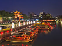 CN nanjing temple canal boats set Royalty Free Stock Photography