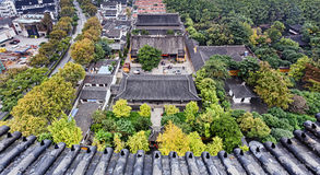 CN Suzhou Temple Aerial. Elevated view from pagoda lookout over historic ancient temple with garden in chinese city Suzhou Stock Photo