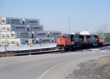 Krajobrazowy CN pociąg, kontenery i Fotografia Royalty Free
