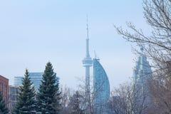 CN toren in de winter in Toronto, Ontario, Canada wordt gezien dat Stock Foto's