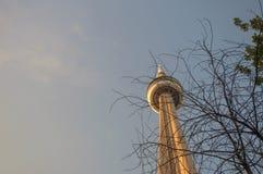 CN torendetail bij zonsondergang Stock Foto