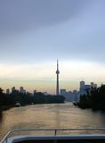 CN Tower. Toronto skyline from Ontario lake Royalty Free Stock Images