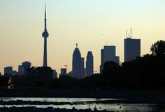 CN Tower. Toronto skyline from Ontario lake Stock Photography