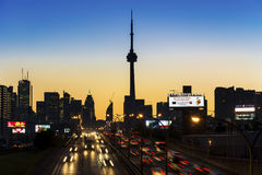 CN Tower as seen from the QEW highway Royalty Free Stock Photos