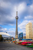 CN Tower as viewed from  the Harbourfront - Toronto, Ontario, Canada. CN Tower as viewed from  the Harbourfront in Toronto, Ontario, Canada Stock Photos