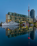 CN Tower with boat and reflection Royalty Free Stock Photo
