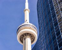 The CN Tower framed in Modern Building Stock Photography