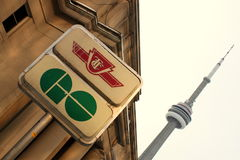 CN Tower and GO Transit Sign Royalty Free Stock Images