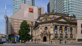 The CN Tower and the Hockey Hall of Fame. Toronto, ON. Canada royalty free stock image