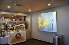 Toronto, 24th June: CN Tower interior Kiosk from Toronto in Ontario Province Canada. CN Tower interior Kiosk from Toronto in Ontario Province of Canada on 24th Royalty Free Stock Photo