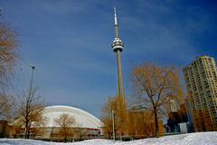 CN Tower and the Roger Centre During Winter Royalty Free Stock Images