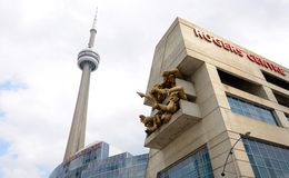 CN Tower and Rogers Centre in Toronto Royalty Free Stock Photography