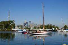 CN Tower Sailboats 2. Sailboats at the marina on Toronto Island with no visible logos Royalty Free Stock Photos