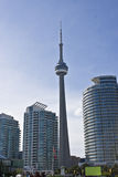 CN Tower - Toronto Harbourfront. Toronto Tower amongst several buildings in downtown Toronto Harbourfront Stock Photo