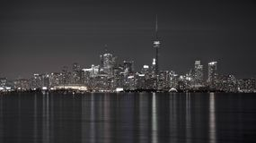 CN Tower and Toronto`s skyline at night royalty free stock photo
