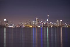 CN Tower and Toronto`s skyline at night royalty free stock image