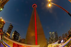 CN Tower low angle view, Toronto, Canada royalty free stock photo
