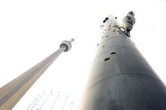 CN Tower and Woodpecker Column in Toronto Royalty Free Stock Photos