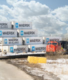 Portrait CN Train and shipping containers Royalty Free Stock Photo