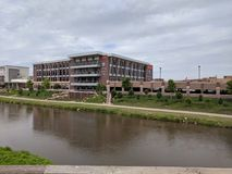 CNA Surety Building on the Banks of the Big Sioux. CNA Sioux Falls headquarters on the banks of the Big Sioux River in Downtown stock photography